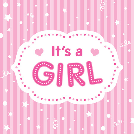 baby girl: Its a girl. Vector congratulation card. Baby shower card. Cute illustration for baby girl.