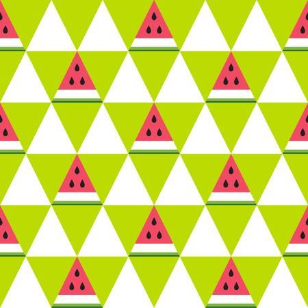 Modèle sans couture de tranches de pastèque dans le style géométrique. Fond de fruits frais d'été. Illustration vectorielle Vecteurs