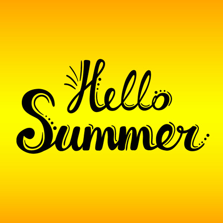 yellow adventure: Lettering hello summer on the yellow background. Summer calligraphic design. Travel vacation, adventure, summer poster.