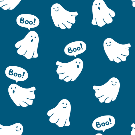 cute wallpaper: Seamless pattern of funny ghosts saying Boo. Vector scary background.