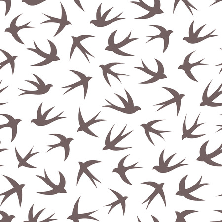 Seamless pattern with a flock of swallows. Vintage background of silhouettes of birds in the sky. Vector illustration. Illustration