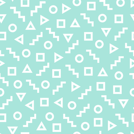 different figures: Geometric seamless pattern consisting of different figures. White geometric shapes - square, triangle, zig-zag and circle on the turquoise background. Illustration