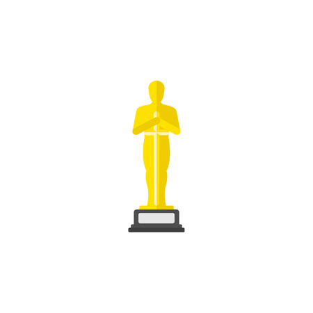 Academy award icon in flat style. Vector illustration.