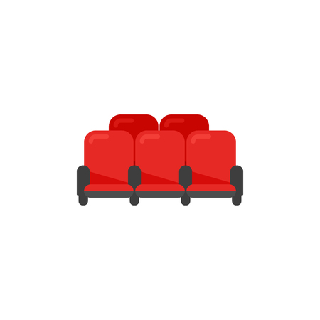 Row of cinema theater red chairs in flat style. Vector icon.