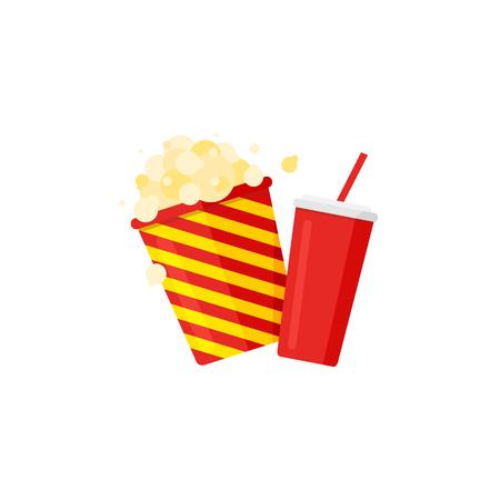 Popcorn striped bucket and soda with straw. Cinema icon set. Vector illustration.