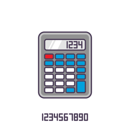 teclado numerico: Colorido icono de la calculadora. Ilustración vectorial con contorno en estilo plano.