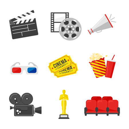film industry: Movie icon set. Colorful icons on the cinema theme in flat style. Vector Illustration. Stock Photo