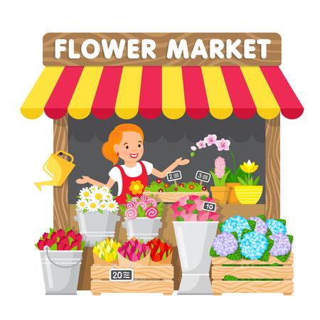 Die junge Frau verkauft Blumen in ihrem Blumenladen auf dem lokalen Markt. Nette Illustration im flachen Stil.