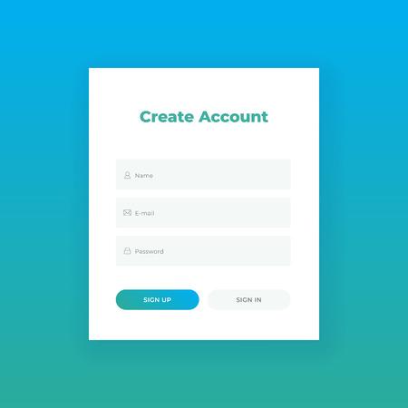 Crea un account. Modulo di accesso per il modello di progettazione materiale del sito web. UI UX