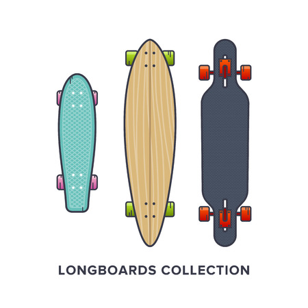 Longboards collection - Cruiser, Downhill, Drop Through, Carving. Vector illustration in flat style. Skateboarding equipment.