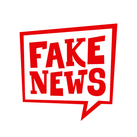 Fake news. Red speech bubble. Vector label for a post about propaganda disinformation on the tv and social media