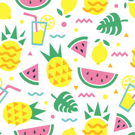 Summer seamless pattern with pineapple, watermelon slice, lemon, cocktail and monstera leaves. Fashion print design, vector background.