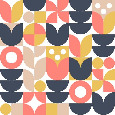 Streszczenie tło skandynawski kwiat. Wektor wzór. Nowoczesna ilustracja geometryczna w stylu retro nordyckim.
