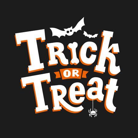 Truco o trato. Cartel de feliz Halloween. Vector.