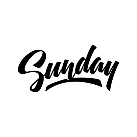 Sunday. Brush pen modern calligraphy isolated on a white background. Hand lettering days of week. Good for planner, menu, prints and other.  Çizim