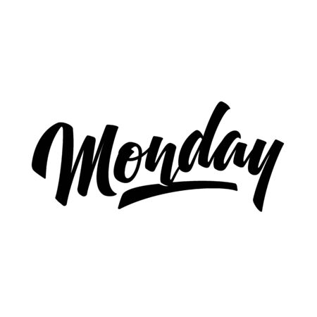 Monday. Brush pen modern calligraphy isolated on a white background. Hand lettering days of week. Good for planner, menu, prints and other.