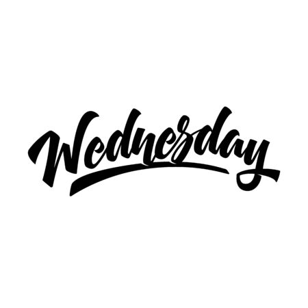 Wednesday. Brush pen modern calligraphy isolated on a white background. Hand lettering days of week. Good for planner, menu, prints and other.  Çizim