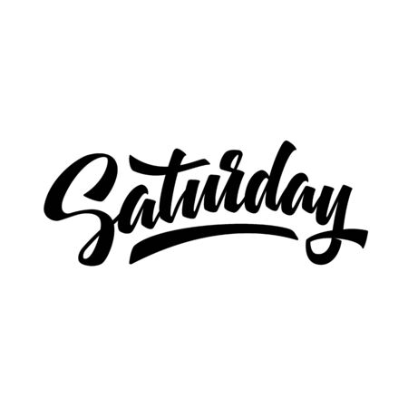 Saturday. Brush pen modern calligraphy isolated on a white background. Hand lettering days of week. Good for planner, menu, prints and other.  Çizim