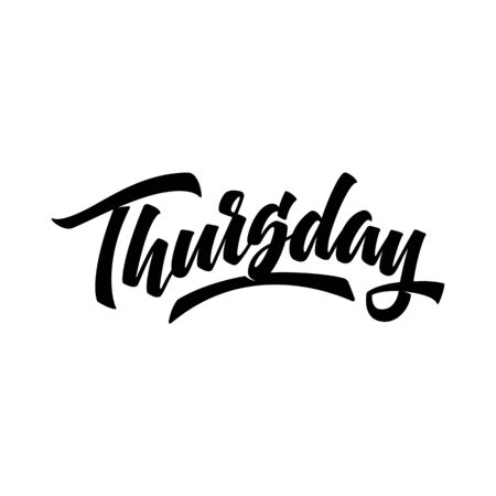 Thursday. Brush pen modern calligraphy isolated on a white background. Hand lettering days of week. Good for planner, menu, prints and other.