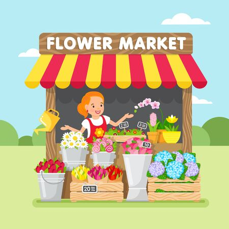 Flower Market. Young woman sells a flowers. Stock Illustratie
