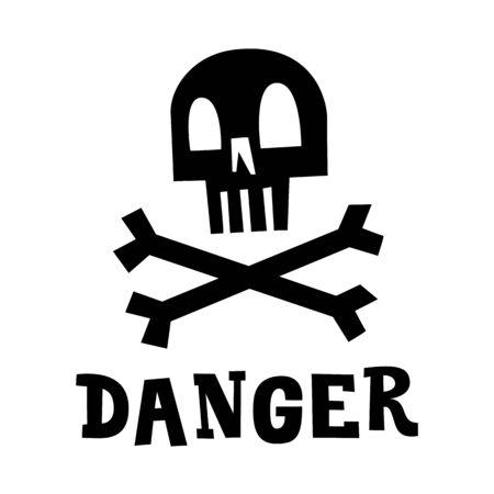 Skull with bones and Danger phrase. Jolly Roger pirate flag. Cartoon vector illustration