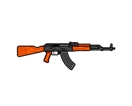 assault rifle line icon. AK-47 vector flat illustration. Legendary Russian automatic machine gun. Stock Vector - 143433589