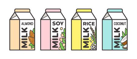 Set of different vegetable milk - almond, rice, coconut, soybeans. Vegan, vegetarian product for cooking food and drink.