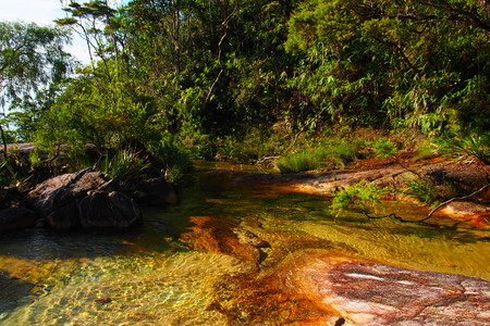 crystal clear water in tropical rainforest, Chemerong Berembun Langsir, CBL, malaysia Stock Photo