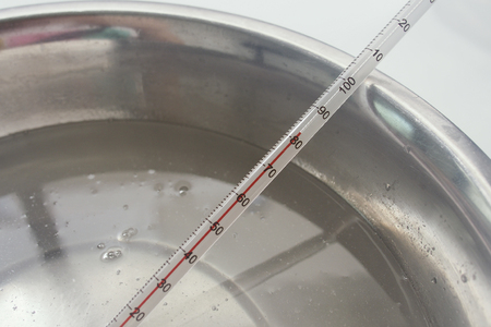 process of handmade soap, measuring lye solution temperature