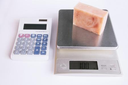 Weighing a bar of handmade soap