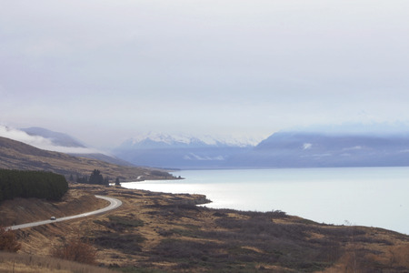 Scenic lookout of Mount Cook above Lake Pukaki