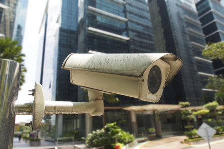 CCTV surveillance camera in business park Standard-Bild