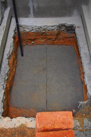 exposed brick wall during construction Standard-Bild