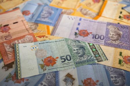 Various type of Malaysian ringgit banknotes background Stock fotó