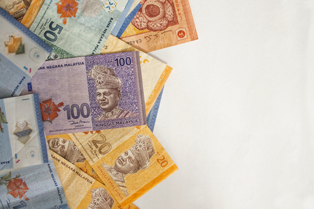 Various type of Malaysian ringgit banknotes background