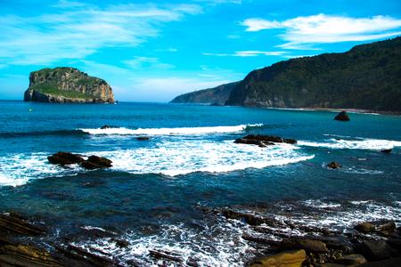 beautiful coast in San Juan de Gaztelugatxe where the series was filmed Stock Photo