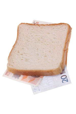 monetary: Close up of sandwich made with money  Stock Photo