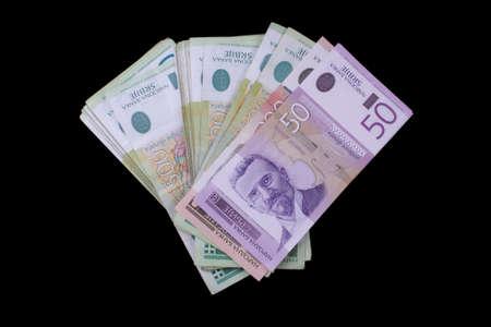 Close look at bunch of Serbian dinar notes photo