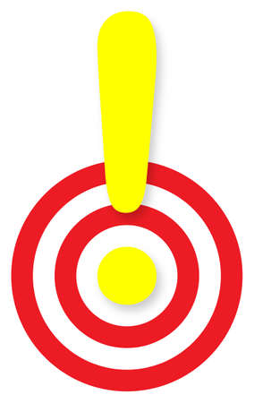 exclamation mark mark over a target photo