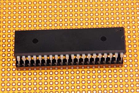 proto: Integrated circuit - chip on proto borard  Stock Photo