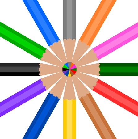 wooden circle: Colorful Wooden Pencil in circle