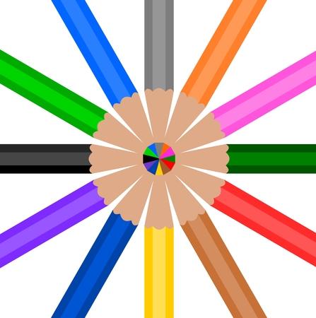 buena postura: L�piz de madera de colores en c�rculo
