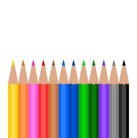 palisade: Colorful Wooden Pencils on white background Illustration