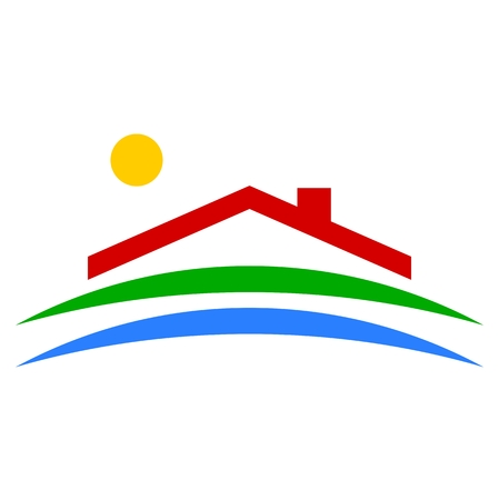 architectural styles: Eco House icon - Illustration
