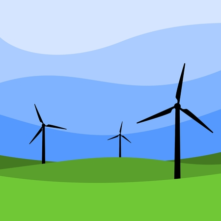 backlit: Wind turbines - Windmills Illustration