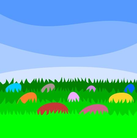 formal garden: Easter Eggs - Illustration Illustration