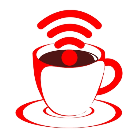 time sharing: Free wifi cafe icon - illustration