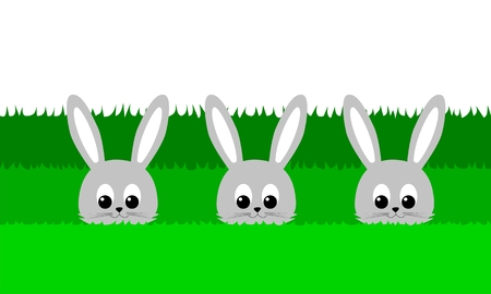 carved letters: Three cute bunny in the grass - illustration Illustration