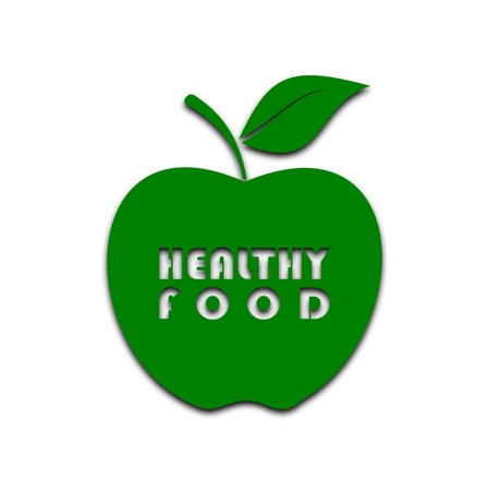 dietary fiber: Healthy Food apple - illustration