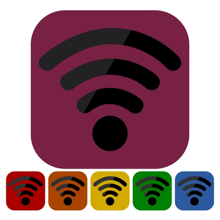 communications tower: Wi-Fi Icon in six colors - Illustration